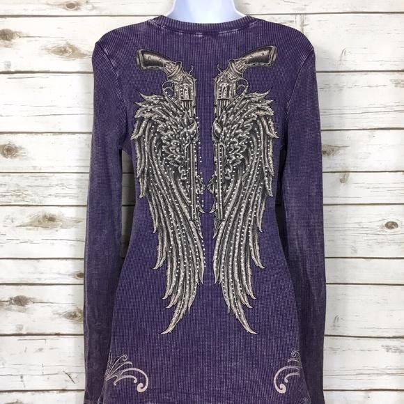 9834bdc32 Rock & Rose Tops | Rock Rose Purple Angel Wings And Guns Bling Top ...